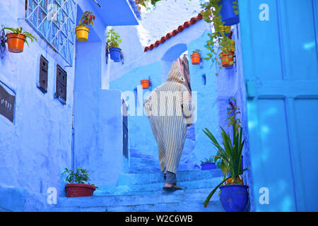 Man In Robe, Chefchaouen, Morocco, North Africa - Stock Photo