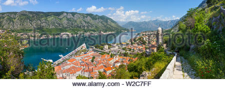 Elevated view over Kotor's Stari Grad (Old Town) and The Bay of Kotor, Kotor, Montenegro - Stock Photo
