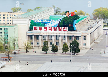 Democratic Peoples's Republic of Korea (DPRK), North Korea, Pyongyang, elevated view over Kim Il Sung Square - Stock Photo