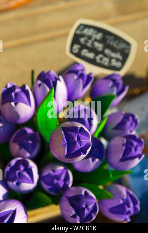 Netherlands, South Holland (Zuid-Holland), Delft, Souvenir Wooden Tulips for sale - Stock Photo