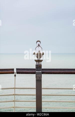 Netherlands, Scheveningen, De Pier, Scheveningen Pier, telescope - Stock Photo