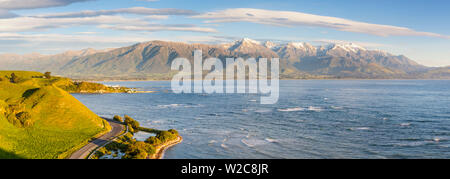 Elevated view over dramatic coastal landscape, Kaikoura, South Island, New Zealand - Stock Photo