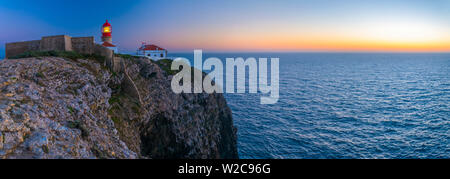 Portugal, Algarve, Sagres, Cabo de Sao Vicente (Cape St. Vincent), Lighthouse - Stock Photo