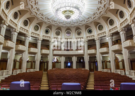 Romania, Bucharest, Palace of Parliament, world's second-largest building, auditorium interior - Stock Photo