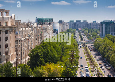 Romania, Bucharest, Palace of Parliament, world's second-largest building, view of Unirii Boulevard - Stock Photo