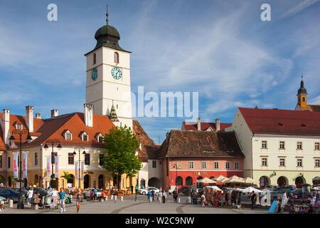 Romania, Transylvania, Sibiu, Piata Mica Square and Council Tower - Stock Photo