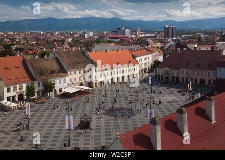 Romania, Transylvania, Sibiu, Piata Mare Square, elevated view - Stock Photo