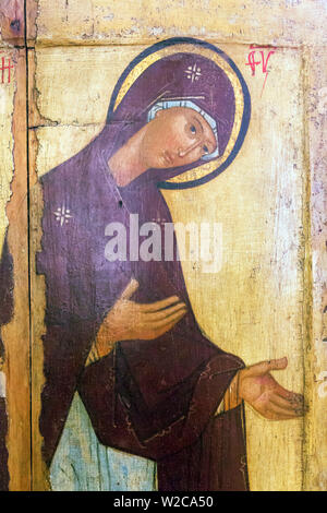 Holy Virgin, Icon in museum, Rostov, Yaroslavl region, Russia - Stock Photo