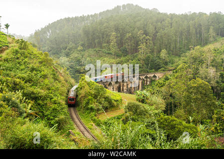Train crossing the Demodera Nine Arches Bridge near Ella in the Southern Highlands, Sri Lanka - Stock Photo