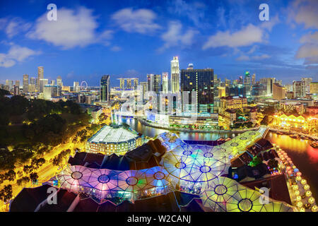 South East Asia, Singapore, Elevated view over the Entertainment district of Clarke Quay, the Singapore river and City Skyline - Stock Photo