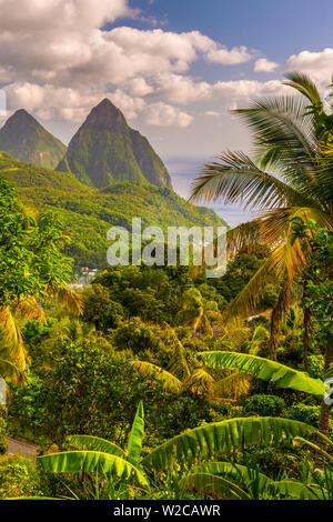Caribbean, St Lucia, Petit (near) and Gros Piton Mountains (UNESCO World Heritage Site) - Stock Photo