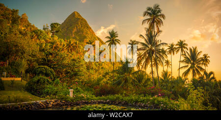 Caribbean, St Lucia, Soufriere, Sugar Beach Resort, formerly Jalousie Plantation Resort and Gros Piton (UNESCO World Heritage Site) - Stock Photo