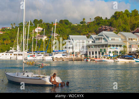 Caribbean, St Lucia, Marigot, Marigot Bay - Stock Photo