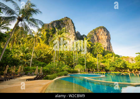Swimming pool, Rayavadee resort, Railay Peninsula, Krabi Province, Thailand - Stock Photo