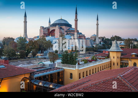 Turkey, Istanbul, View of Four Seasons Hotel roof terrace and Haghia Sophia, - Aya Sofya Mosque - Stock Photo