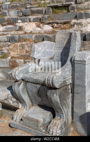 Theatre, Ruins of ancient Priene, Aydin Province, Turkey - Stock Photo