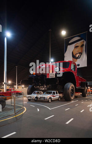 UAE, Abu Dhabi, Shanayl, Emirates National Car Museum, car collection of Sheikh Hamad Bin Hamdan Al Nahyan, also known as The Rainbow Sheikh, Dodge Power Wagon monster truck on mining truck chassis - Stock Photo