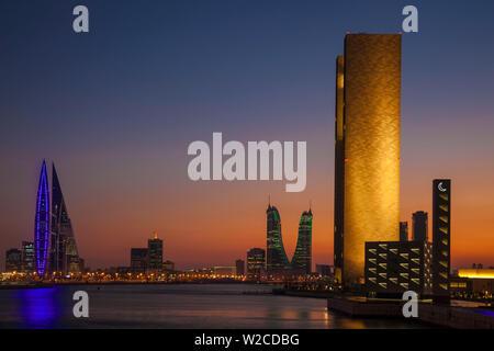 Bahrain, Manama, View of Bahrain Bay - Bahrain Financial Harbour, Harbour Towers, Four Seasons Hotel and Bahrain World Trade Center - Stock Photo