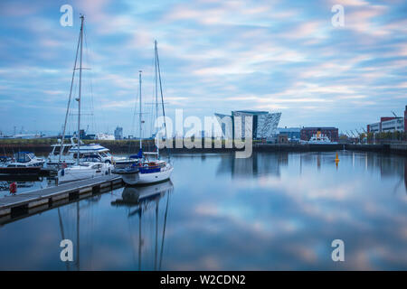 United Kingdom, Northern Ireland, Belfast, View of the Titanic Belfast museum and The SS Nomadic - Stock Photo