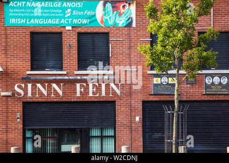United Kingdom, Northern Ireland, Belfast, Falls Road, Sinn Fein building - Stock Photo