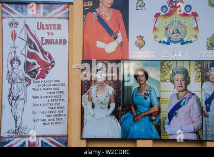 UK, Northern Ireland, Belfast, Falls Road, Unionist pro-British murals along Shankill Road with Queen Elizabeth II - Stock Photo