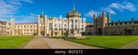 UK, England, Cambridge, University of Cambridge,  Trinity College, Great Court and Fountain - Stock Photo