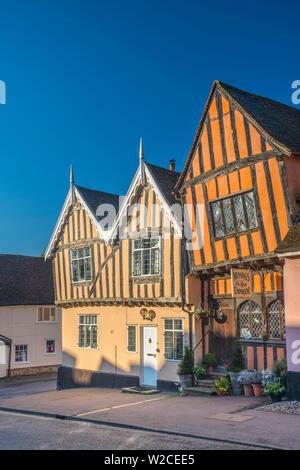 UK, England, Suffolk, Lavenham, High Street - Stock Photo