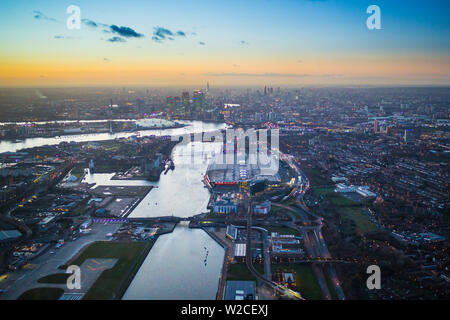 Aerial view over London Excel and Royal Victoria Dock, London, England - Stock Photo
