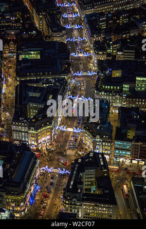 Aerial view over Regents Street and Oxford Circus, London, England - Stock Photo