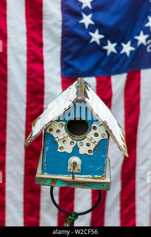 USA, Massachusetts, Cape Cod, Sandwich, birdhouses - Stock Photo