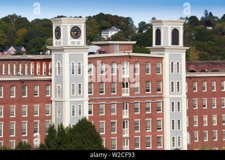 USA, Massachusetts, Lowell, Lowell National Historic Park, Massachusetts Mills, elevated view - Stock Photo