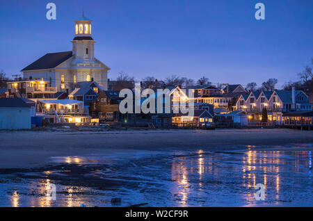 USA, Massachusetts, Cape Cod, Provincetown, town skyline with library, dusk - Stock Photo