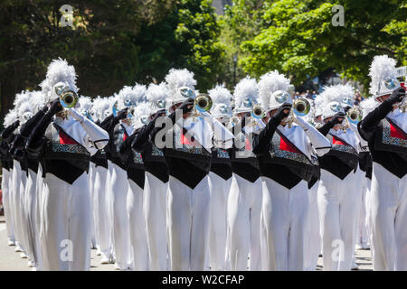 USA, Massachusetts, Manchester By The Sea, Fourth of July, marching band - Stock Photo