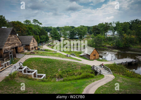 USA, Massachusetts, Saugus, Saugus Iron Works National Historic Park, historic first Iron Forge in the US, elevated view - Stock Photo