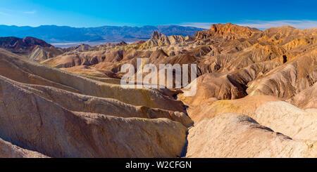 USA, California, Death Valley National Park, Zabriskie Point, Panamint Range of mountains beyond - Stock Photo