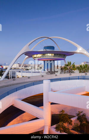 USA, California, Los Angeles, LAX, Los Angeles International Airport, former airport control tower, now a bar, dusk - Stock Photo