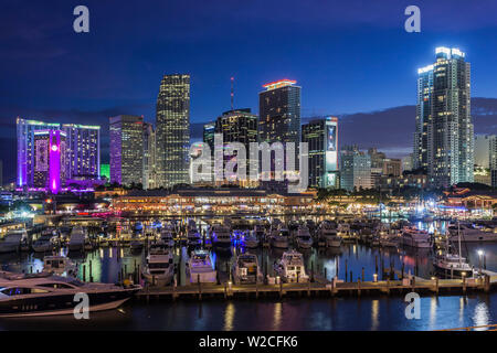 USA, Florida, Miami, city skyline with Bayside Mall - Stock Photo