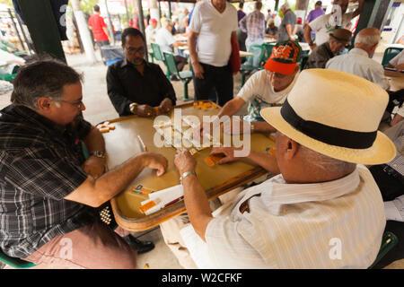 USA, Florida, Miami, Little Havana, Calle Ocho, SW 8th Street, Maximo Gomez Park, domino players - Stock Photo