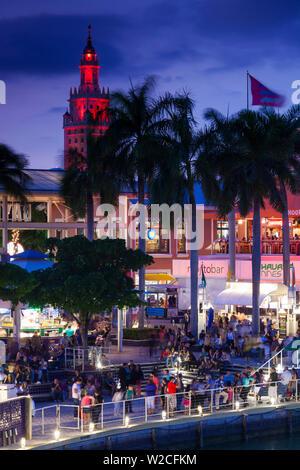 USA, Florida, Miami, city skyline with Bayside Mall and Fredom Tower - Stock Photo