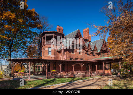 USA, Connecticut, Hartford, Mark Twain House, former home of celebrated American writer Mark Twain, autumn - Stock Photo
