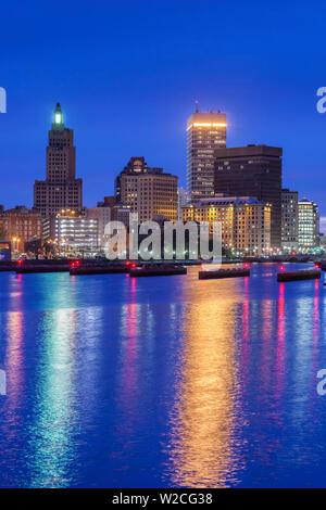 USA, Rhode Island, Providence, city skyline from the Providence River, dusk - Stock Photo