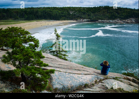 USA, Maine, Mt. Desert Island, Acadia National Park, elevated view of Sand Beach - Stock Photo