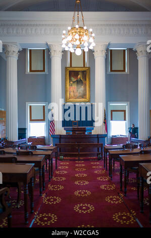 USA, North Carolina, Raleigh, North Carolina State Capitol, 19th century chamber of the State House of Representatives - Stock Photo