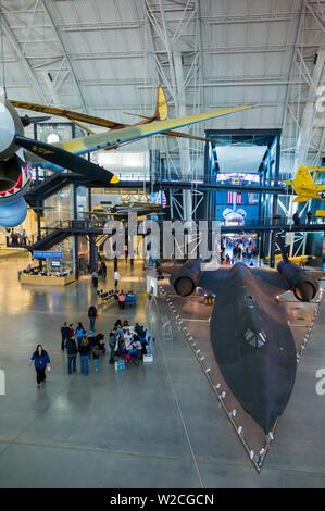 USA, Virginia, Herdon, National Air and Space Museum, Steven F. Udvar-Hazy Center, air museum, SR-71 Blackbird supersonic spyplane - Stock Photo