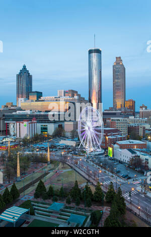 City skyline, elevated view over Downtown and the Centennial Olympic Park in Atlanta, Georgia, United States of America - Stock Photo