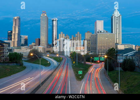 Elevated view over Freedom Parkway and the Downtown Atlanta skyline, Georgia, United States of America - Stock Photo