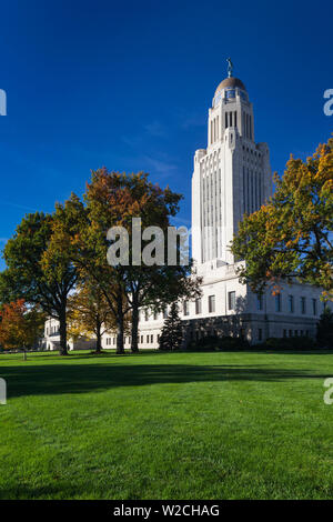 USA, Nebraska, Lincoln, Nebraska State Capitol - Stock Photo