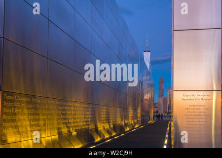 USA, New Jersey, Jersey City, Liberty State Park, Empty Sky memorial to new Jerseyans lost during 911 attacks on the World Trade Center, World Trade Center in background
