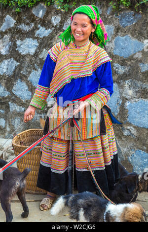 Flower Hmong woman selling dogs, Sunday market, Bac Ha, Vietnam - Stock Photo