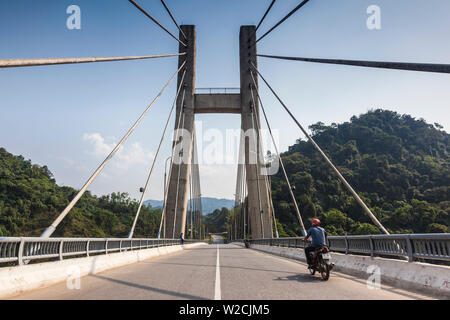 Vietnam, DMZ Area, Quang Tri Province, Dakrong Bridge, new bridge built as a memorial to the Vietnam War-era Ho Chi Minh trail - Stock Photo